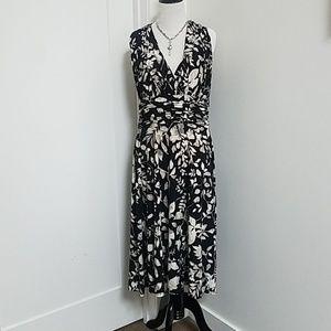Black Print Dress Shirred at Waist